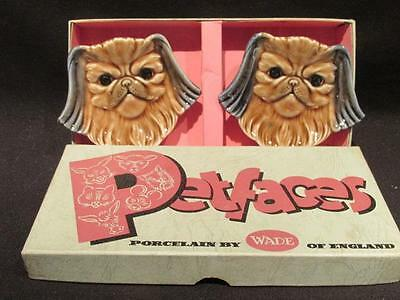 Pekingese Rare Set of Wade Petfaces Porcelain Dishes New in Box 1960s