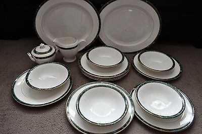17 Pieces of Royal Worcester Medici Jade Green Dinner Ware - Plates, Bowls, Jug