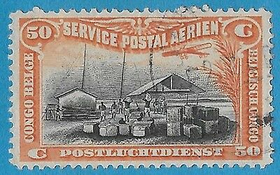 + 1920 Belgian Congo Africa Wharf on Congo River Air Post Bob #C1 AP1 50c used