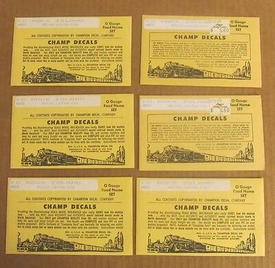 LOT of 6 Champ Decals O Scale ROCK ISLAND White Lettering Road Name Sets #N-23