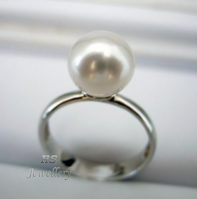 HS Rare South Sea Cultured Pearl 9.61mm Ring 925 Sterling Silver Top Grading