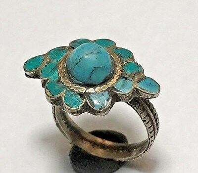 VINTAGE BRONZE DAISY RING WITH FANTASTIC STONE 5.2gr 26.6mm (INNER 19.0mm)