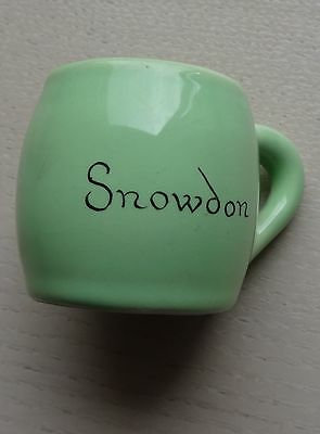 SMALL PALE GREEN TANKARD - SNOWDON WRITTEN ON FRONT  - DATES FROM 1950s