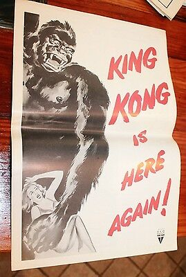 """KING KONG double bill pressbook I WALKED WITH A ZOMBIE 1956 12"""" x 18"""" movie art"""