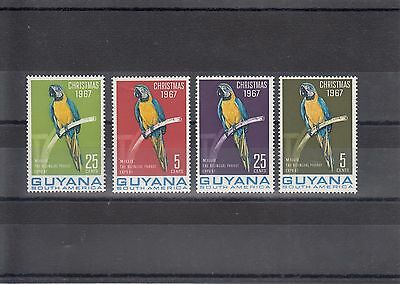 Timbre Stamp 4  Guyana  Y&t#280-81 258-59 Perroquet Neuf**/mnh-Mint 1967  ~A20