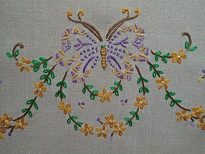 VINTAGE TRAY CLOTH-HAND EMBROIDERED with butterflies and FLOWERS.
