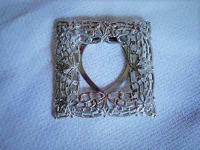 Vintage Silver Tone Filigree Scarf Ring Clip