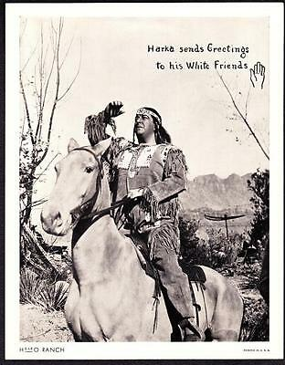 Harka Native American Indian H-BAR-O Rangers Radio Club 1930s Litho Photo