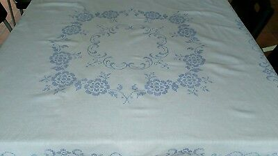 Vintage Linen Tablecloth in White with Blue Hand Cross Stitching 48 x 47 inches