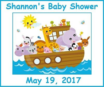 (18)Personalized Noah's Ark Party Stickers,Birthday,Baby Shower Labels Boy