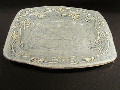 """Bowyer Signed Mid-Century Pottery Ceramic Bowl Blue & White 11 X 9"""""""