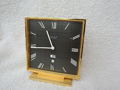 Vintage Imhof Brass Cased 8 Day Calendar Clock For Repair