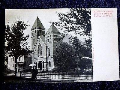 Early 1900's Methodist Church & Main St. in Sistersville, WV West Virginia PC