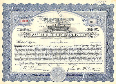 Palmer Union Oil Company Stock Certificate (California) with stamp