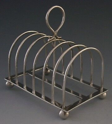 Quality English Victorian Sterling Silver Six Slice Toast Rack 1901 Antique
