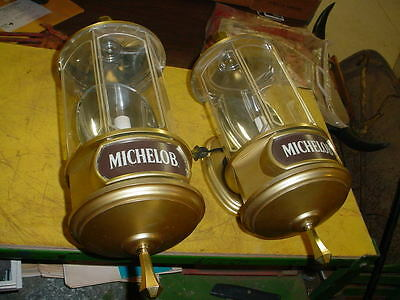 TWO 1982 Michelob Light Beer Crystal Lamps / Wall Sconce Light / Sign WORK