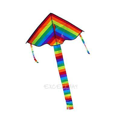 Nylon Rainbow Delta Triangle Kite Outdoor Children Fun Sports Toys Gift