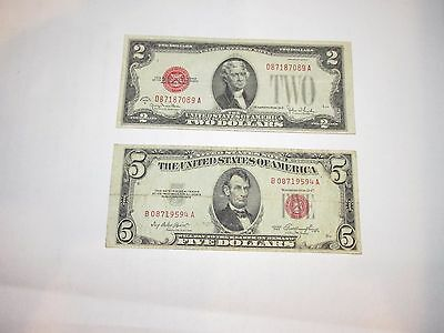 $5 Red Seal 1953 / $2 Red Seal 1928 G ............20328