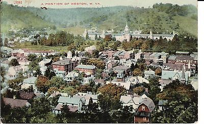 1912 A Bird's Eye View of a Portion of Weston, WV West Virginia PC Rare