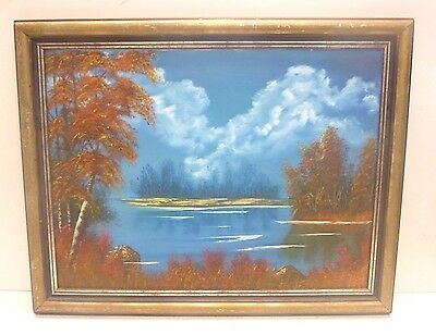Landscape Lake / Forest View Framed Oil Painting on Canvas