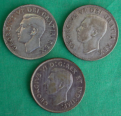 1947 Long 7 1949 1950 Canada 50 Cent Half Dollar 3 Coin Lot Silver YG