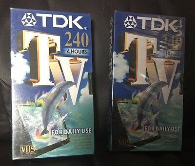 Blank VHS Tapes 2 x TDK 4HR 240 Video Cassettes Sealed