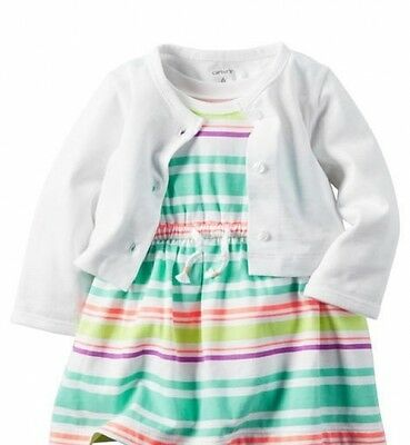 NWT Baby Girl Carter's Spring / Summer Cardigan Top & Dress Set Size 6 Months