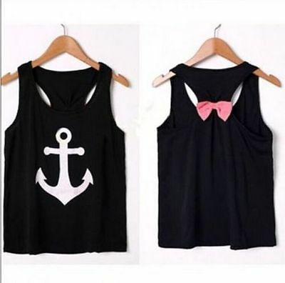 Fashion Women Bow Vest Sleeveless Anchor Shape Blouse Casual Tank Tops T-Shirt