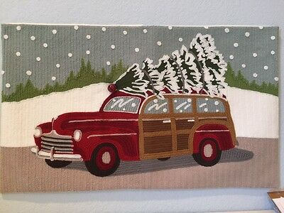 Pottery Barn Woody Car Decorative Throw Pillow Cover Christmas Holiday Crewel