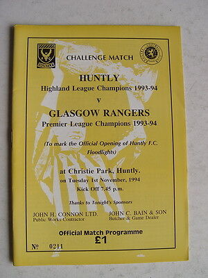 Huntly v Rangers 1994 Official Opening of Floodlights
