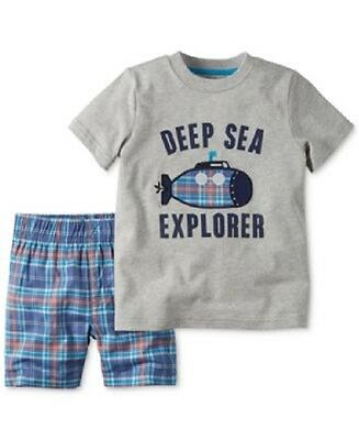 New With Tag Carter's Baby Boy 2 Piece Cotton Top & Shorts Set  Size 9 Months