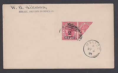 1891 Q.V. British Honduras Aikman Bisect Surcharged pair / Belize MY 9th cancel