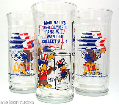 Rare McDonald's Manager's 1984 Olympics Glass and Four Prototype Glasses MINT