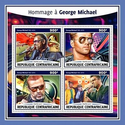 Central Africa - 2017 George Michael - 4 Stamp Sheet - CA17215a