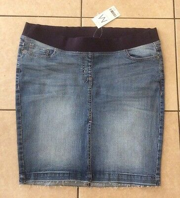 Bnwt Next Blue Stretch Denim Underbump Maternity Above Knee Skirt - Size 14