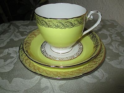 Royal Grafton - Bone China - Yellow and Gold Trio - cup, saucer and teaplate