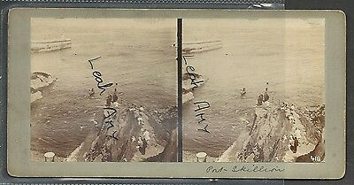 Original Early Stereoview Of Port Skillion, Isle Of Man...