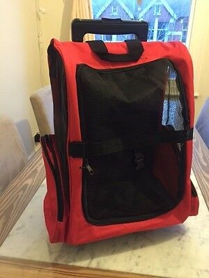 Backpack Pet Dog Cat Puppy Carrier Travel Rolling Trolley Bag Wheels Red & Black
