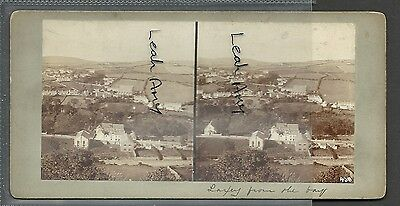 Original Early Stereoview Of Laxey From The Bay, Isle Of Man...