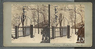 Original Early Stereoview Of Snow Tapton Park, Chesterfield, Derbyshire.