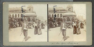Original Early Stereoview Of On The Spa, Scarborough.