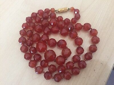 Stunning  Antique   Victorian Carnelian Bead Necklace