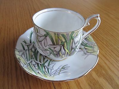 """Royal Albert Flower Of The Month, Hand Painted  """"snowdrop""""  Cup And Saucer Set"""