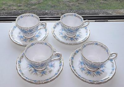 Vintage Tuscan China Rh & SL Plant Love in the Mist 4 x Cups and Saucers  c1950s