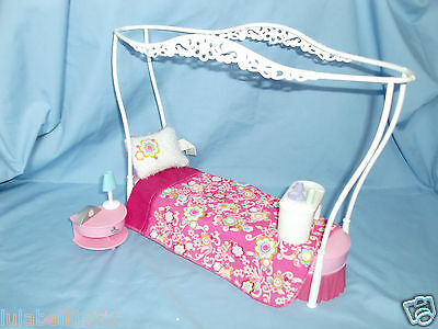 Barbie Doll Dolls House Canopy Bedroom Furniture + Accessories