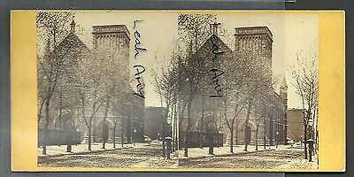 Original Early Stereoview Of Holy Trinity Church, Philadelphia, United States.