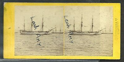 Original Early Stereoview Of Hms Edgar In The Firth Of Forth.