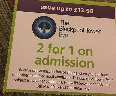The Blackpool Tower Eye Two For One Voucher Save £13.50