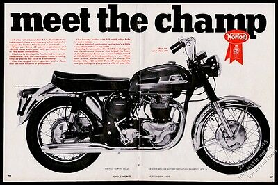 1966 Norton Atlas 750 motorcycle photo vintage print ad