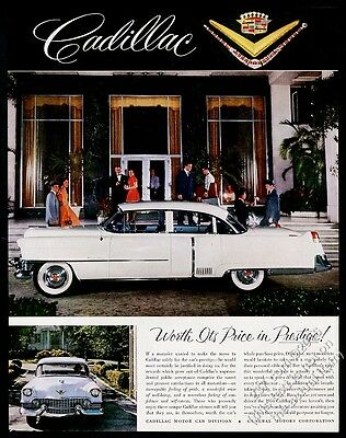 1954 Cadillac sedan white car 2 color photo vintage print ad